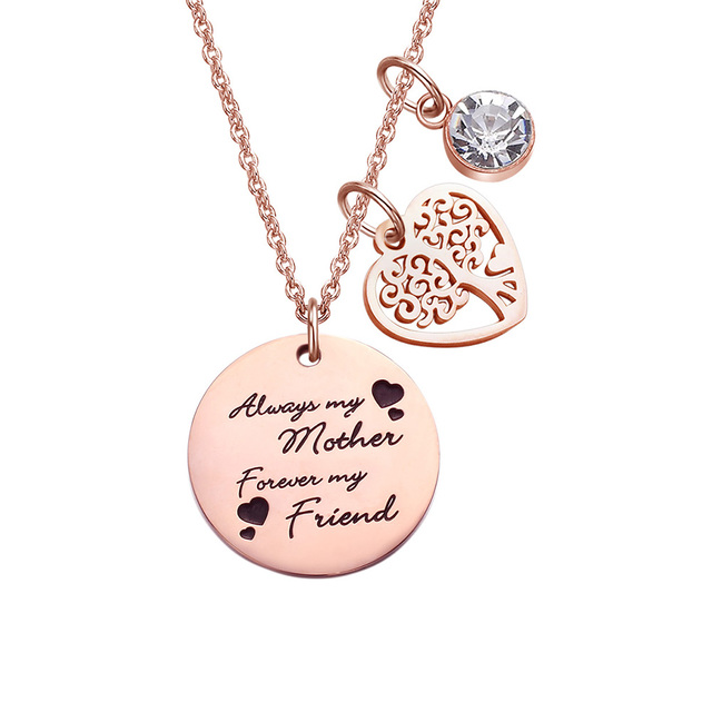Stainless Steel Forever And Always Love Quotes Mom Sister Friend
