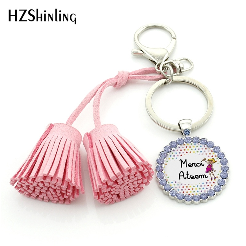 HZShinling TAC-024 Merci Maitresse Tassel Keychains Glass Dome Merci Atsem Crystal Keyring Custom Quote Art Photo Gifts