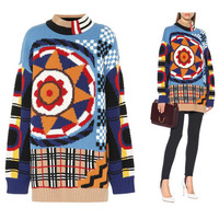 Autumn Winter 2018 New Women Long Oversized Knitted Sweater Turtleneck Sun Flower Patchwork Pullover Ladies Fashion Pull Femme