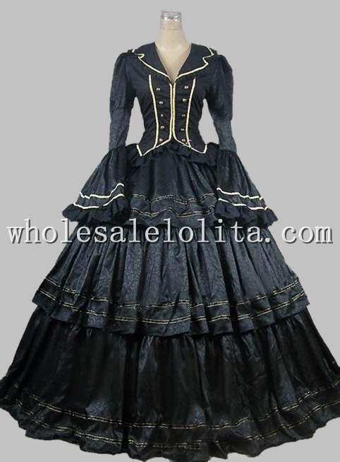6ac8cfccad3d5 الحرب الأهلية الفيكتوري بروكيد الكرة ثوب ثوب prom مسرح فترة إعادة تشريع  الملابس
