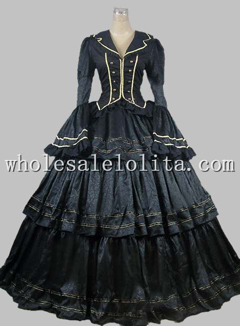 Civil War Victorian Brocade Ball Gown Period Dress Prom Theatre Reenactment Clothing