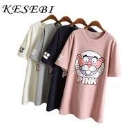 Kesebi 2017 Spring Summer New Fashion Women Simple O Neck Casual Plus Size T Shirts Female