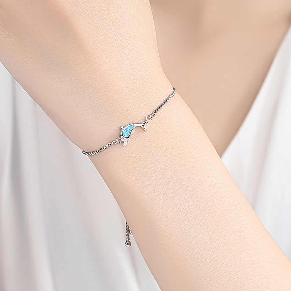 ELESHE ogień Opal delfin zwierząt Femme bransoletki tybetański srebrny Rose złoty łańcuch bransoletka dla kobiet moda biżuteria