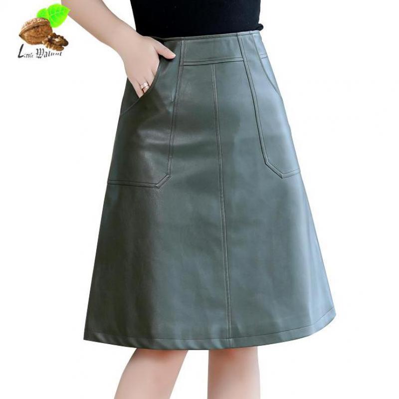 Noir Jupe La Pu Poches en Mode Automne Dame Nouvelles vert Plus Féminine 2019 Cuir Taille Rétro Jupes 3xl Vintage Noir De 4xl Femmes yW7f4qR1