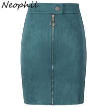 Neophil, женские замшевые мини юбки-карандаш, Женский Винтажный стиль, зимние женские короткие юбки-пачки с молнией спереди и пуговицами, Saia S1911