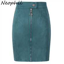 Neophil Women Suede Mini Pencil Skirts Female Vintage Style 2019 Winter Front Zipper Button Ladies Short Tutu Saia S1911