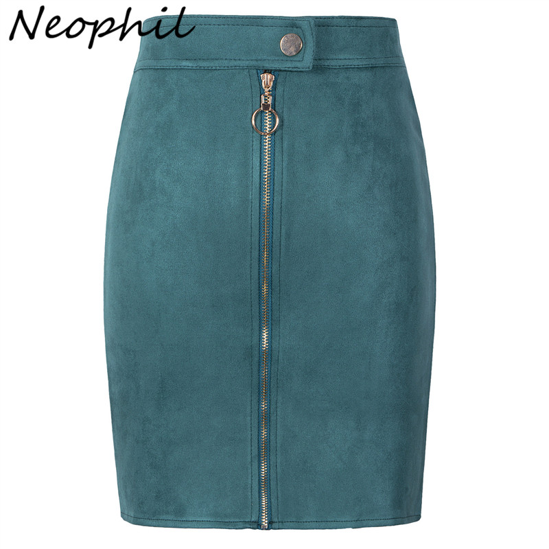 Neophil Women Suede Mini Pencil Skirts Female Vintage Style 2020 Summer Front Zipper Button Ladies Short Skirts Tutu Saia S1911