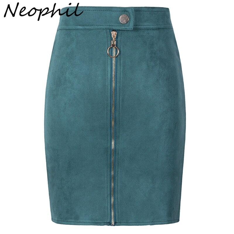 Neophil Women Suede Mini Pencil Skirts Female Vintage Style 2020 Summer Front Zipper Button Ladies Short Skirts Tutu Saia S1911