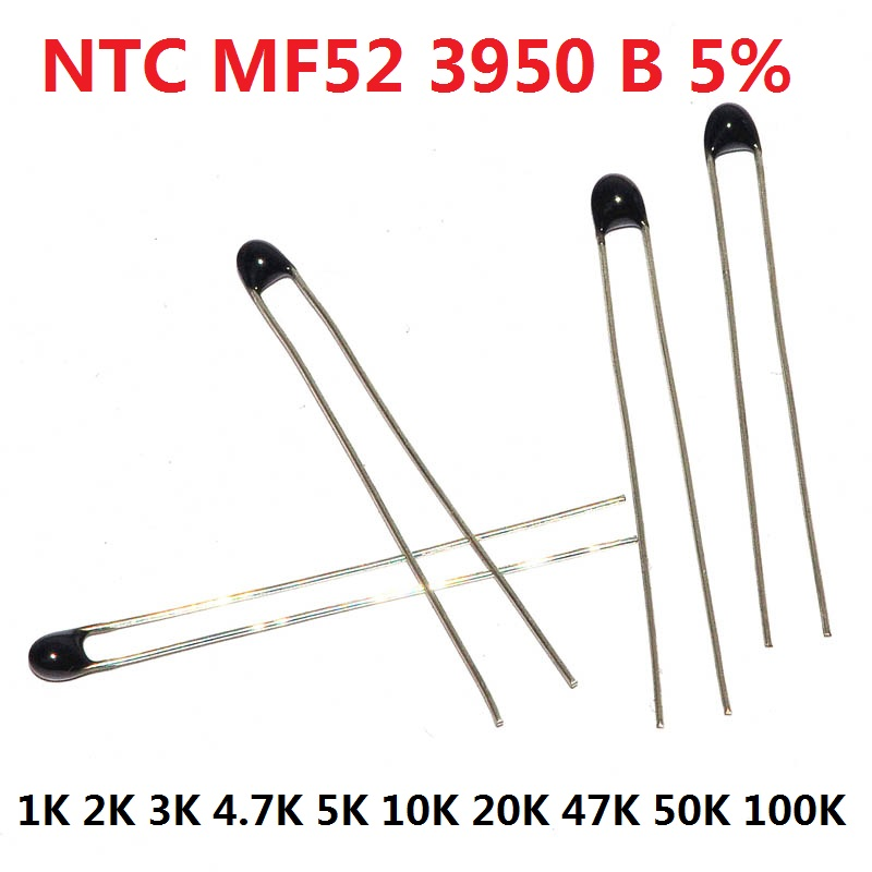 20PCS <font><b>NTC</b></font> <font><b>Thermistor</b></font> Thermal Resistor MF52 <font><b>NTC</b></font>-MF52AT 1K 2K 3K 4.7K 5K <font><b>10K</b></font> 20K 47K 50K 100K 5% 3950B 1/2/3/4.7/K Ohm R kit image