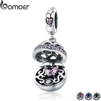BAMOER Authentische 925 Sterling Silber Liebe Geschenk Box Baumeln Ball Charm Anhänger fit Frauen Charme Armband & Halsketten Schmuck SCC689