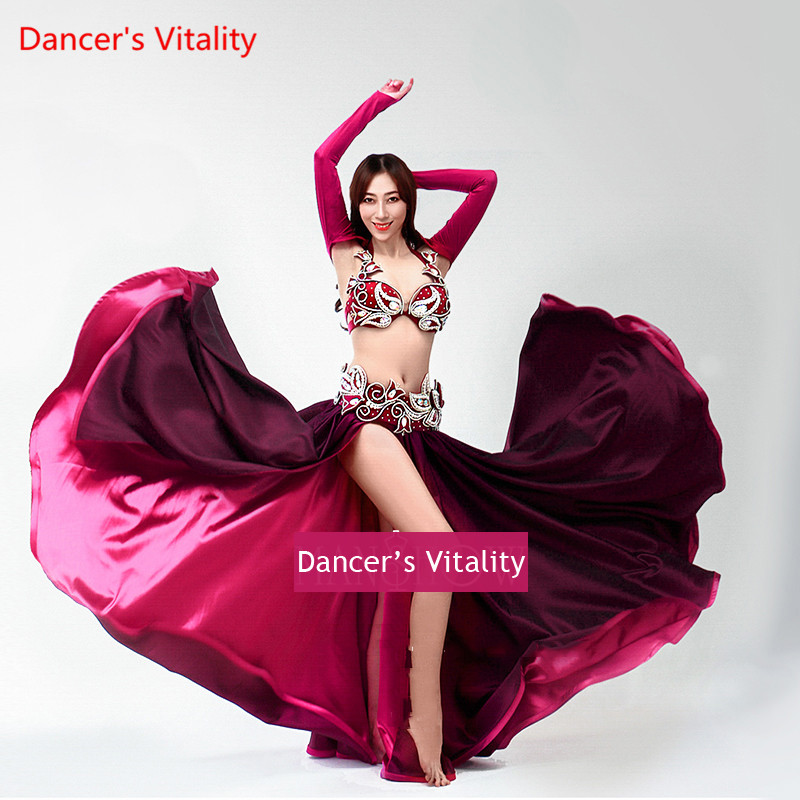 Senior Handmade Customization Belly Dance Suits Women Performance Belly Dance Set Bra Top+belt+Large Pendulum Skirt 3pcs Set