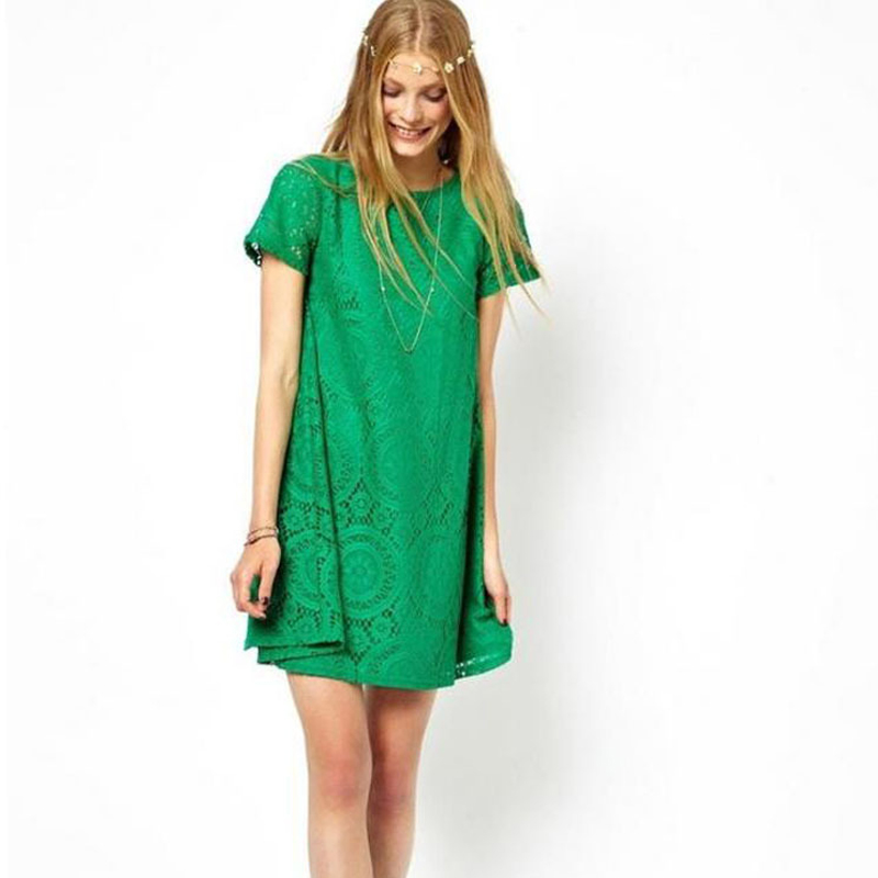Plus Size Loose Mini Hollow Party Dress Summer Short Sleeves A Line O-Neck Lace Club Solid Out Bohemian