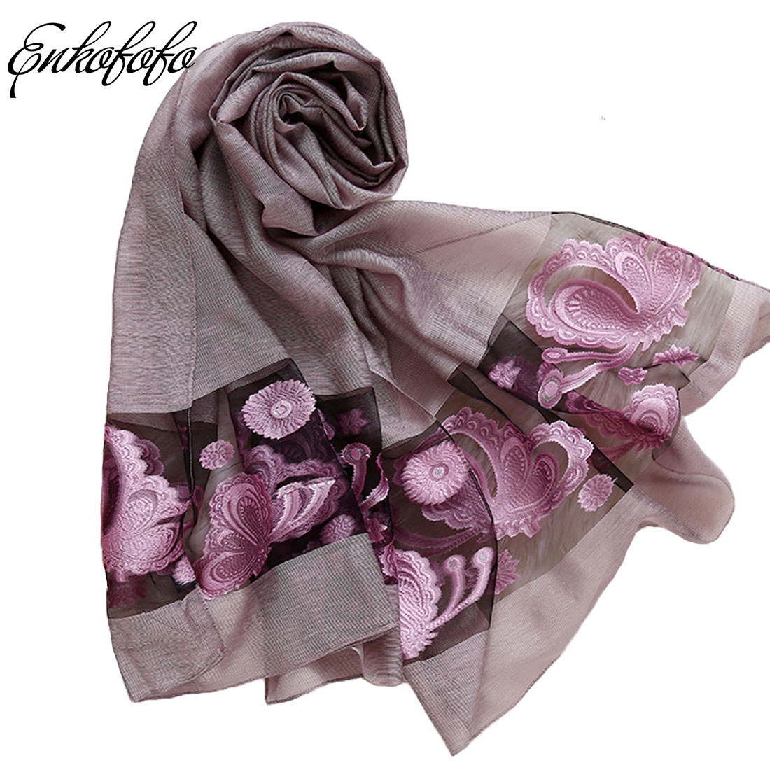 2018 New Fashion Warm Women Scarf Long Pure Silk Scarves Female Wraps Spring Autumn Embroidery Floral Girl Shawls Blanket Scarf