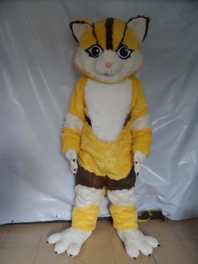 Желтый Фокс Маскоты костюм для взрослых Размеры с длинными белыми, Ярко синий Средства ухода для век короткие желтые волосы