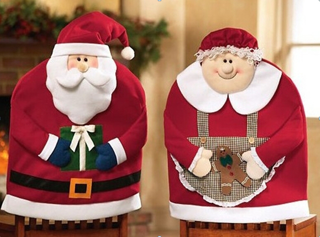 1 Pair Mr Or Mrs Santa Claus Christmas Dinner Decoration Kitchen Chair Covers Chairs Hats