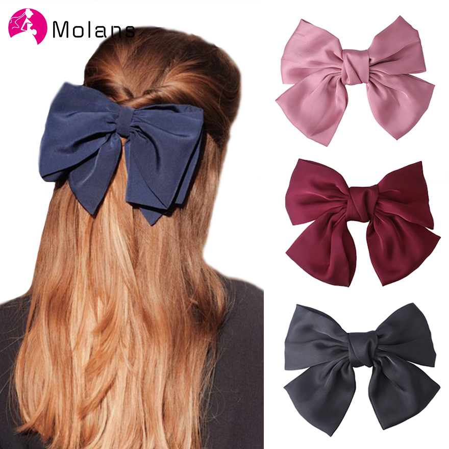 Molans Solid Satin Hiar Bow Hairpins For Women Big Double Layer Bowknot Butterfly Hairpins Hair Clips Girl Hair Accessories
