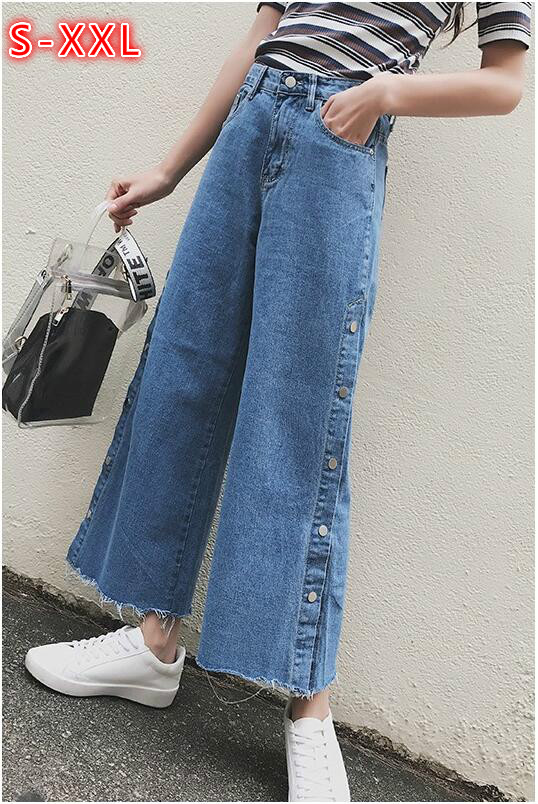 Spring Summer Straight jeans For Women Loose Wide leg Denim Pants Western style Side buckle big split Cowboy wide leg pants