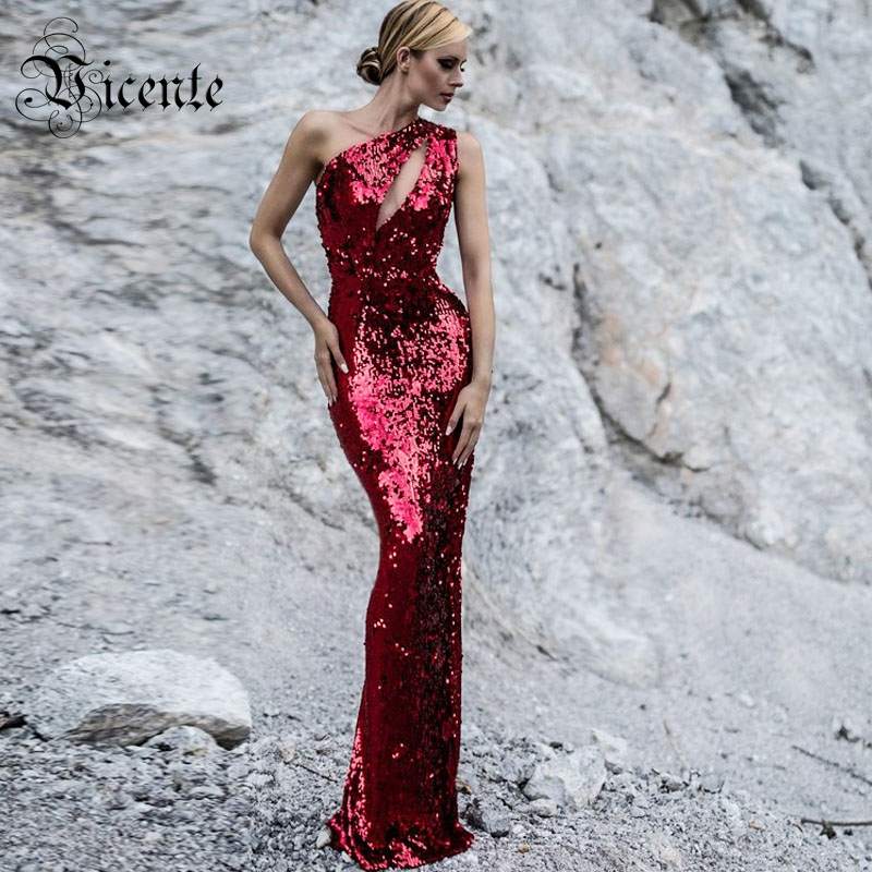 Vicente All Free Shipping HOT 2019 New Chic Sequins Embellished Sexy One Shoulder Key Hole Wholesale