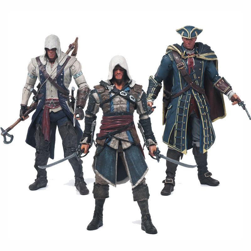 Free Shipping Assassins Creed 4 <font><b>Black</b></font> Flag Connor Haytham Kenway Edward Kenway PVC <font><b>Action</b></font> <font><b>Figure</b></font> Toys hidden blade
