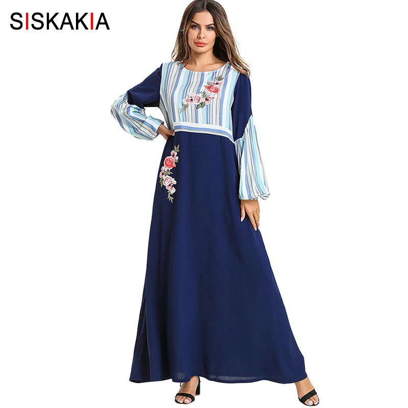 Siskakia Women Dress Spring Summer 2019 Elegant Stripe Color Block Patchwork Muslim Long Dress Rose Embroidery