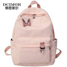 DCIMOR Women Waterproof nylon Backpack Lovely Rabbit Decorative Shoulder Pack School Backpack for Teenage Girls Female Mochila