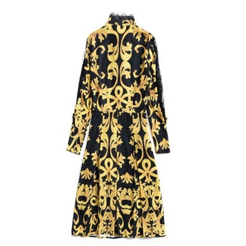Dame Robe Or Ligne Bureau Robes Printemps Manches Femmes Dentelle Une Chemise Xl Vêtements Nouveau Longues 2019 De Automne Noël Print Party Vintage SWYEn1zqw5