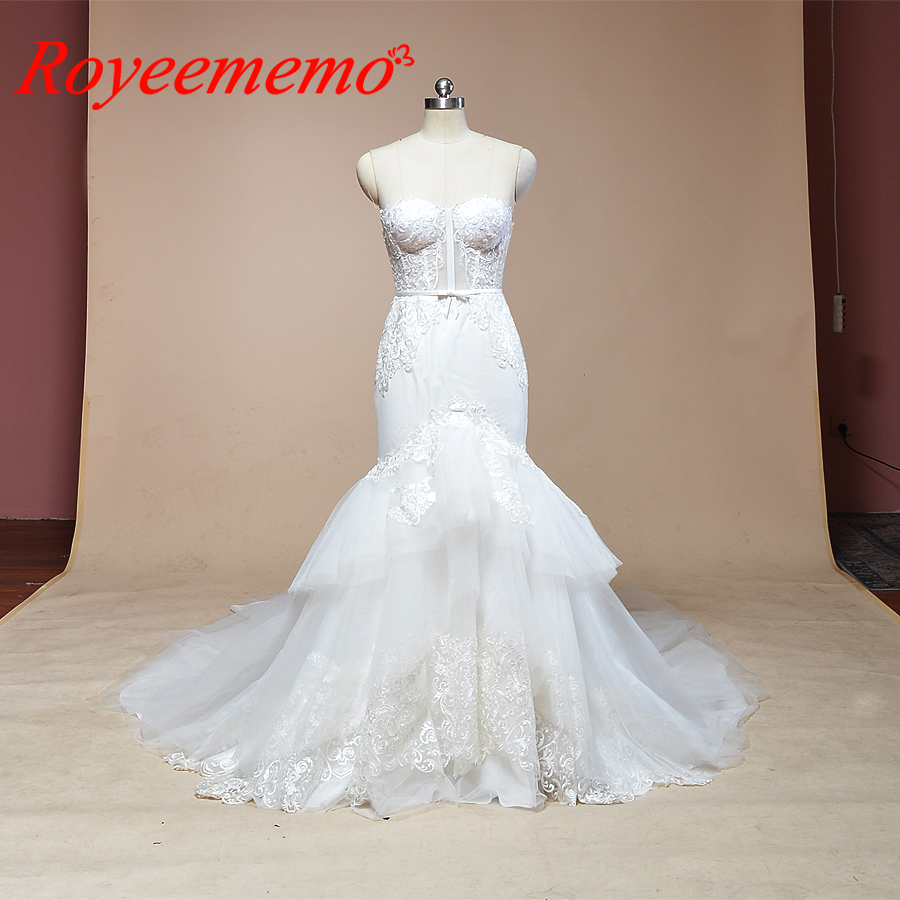 Image 1 - 2019 sleeveless mermaid lace wedding dress hot sale wedding gown custom made factory wholesale price bridal dress-in Wedding Dresses from Weddings & Events