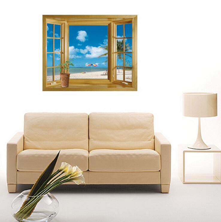 sandy beach sea 3d window view scenery wall stickers living room