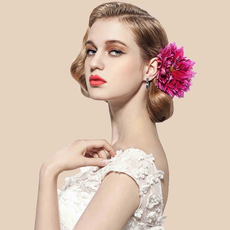 Baru U Bentuk Klip Lebih Tinggi Wanita Anting-Anting dengan X Kristal Berlian Imitasi Sehat Hitam Putih Keramik Anting-Anting untuk Wanita Pernikahan Perhiasan hadiah