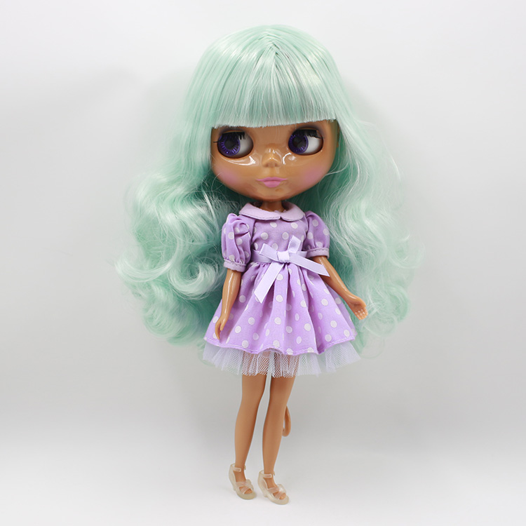 Free shipping normal body nude doll 230BL4006136 mint mix white hair, green hair with bangs, wavy hair, nude blyth doll mint green casual sleeveless hooded top