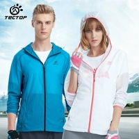 TECTOP outdoor men women Solid color Skin jackets with hood ultra light ultra thin quick drying waterproof slim camping coat
