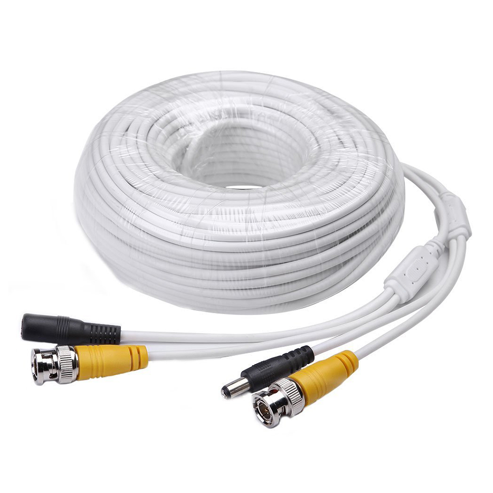 5 Packs 100ft Video Power Cables BNC RCA Security Camera Extension White Wires Cords for CCTV DVR Surveillance System