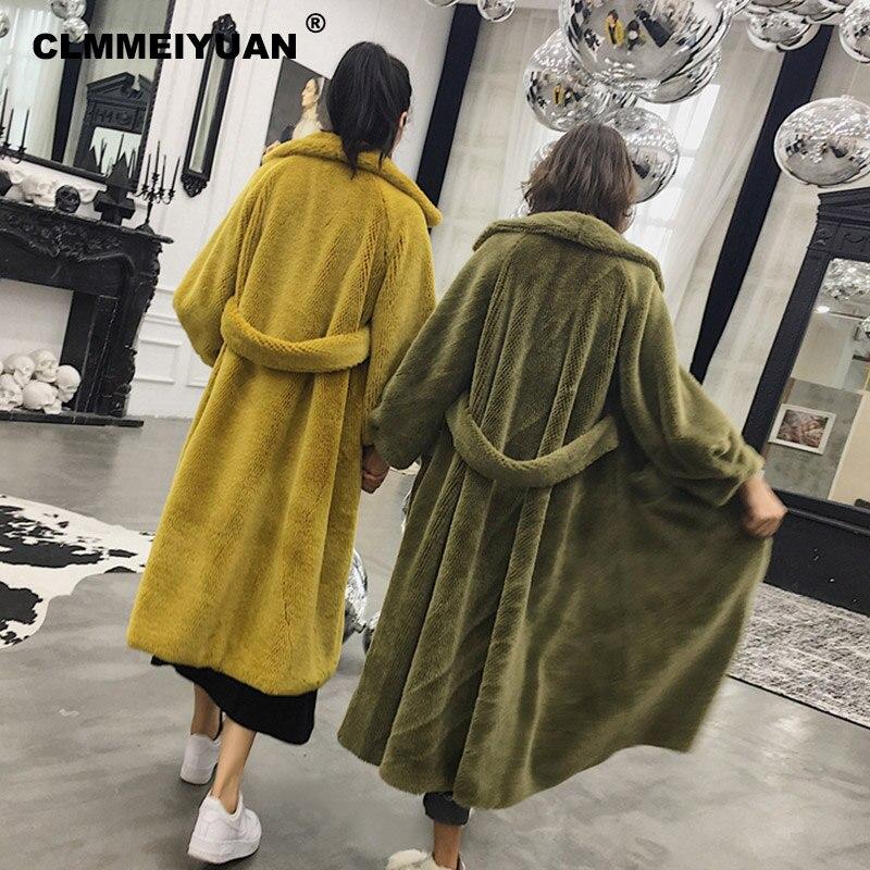Turn purple De Surdimensionné 2018 Coat Yellow Fur Coat Coat Vison Mode Manteau down Shaggy Green Hiver Coat Fourrure X Doux long army Streetwear gray Vestes Manteaux Col Survêtement Faux p8wqxdC