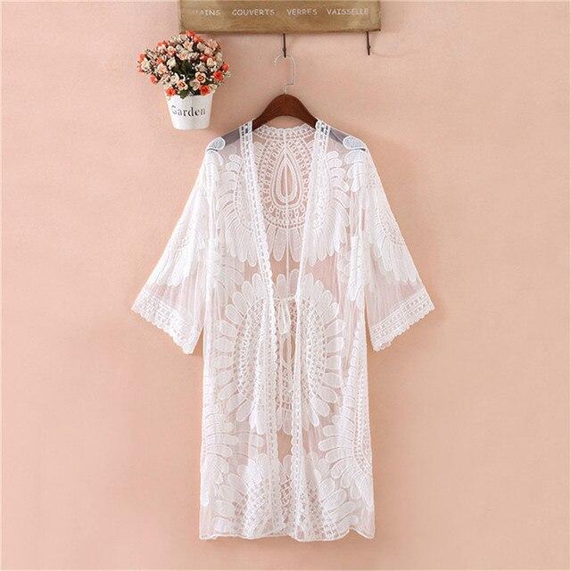 Nouveau été maillot de bain dentelle creux Crochet plage Bikini couvrir 3/4 manches haut pour femme maillots de bain plage robe blanc plage tunique chemise