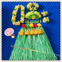 1sets/lot Event & Party suppliers Hawaiian Hula Grass Skirt Flower Party Dress Beach Dance Costume Free Shipping
