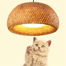 Vintage Bamboo LED Wood Pendant Lamp Weaving Nest Antique Chandelier Lanterns Living Room Hotel Restaurant Aisle