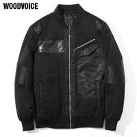 Woodvoice High Quality Spring Autumn Jackets Coat Elegant Jacket Slim Mens Brand Clothing Outerwear Pu Spliced