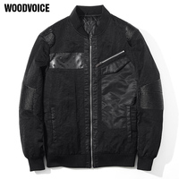 Woodvoice High Quality Spring Autumn Jackets Coat Elegant Jacket Slim Mens Brand Clothing Outerwear Pu Spliced
