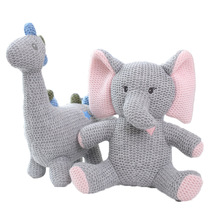 цена на Baby Gift Cute Baby Kids Animal Knitting Bear Elephant Sleeping Comfort Doll Plush Toy Soft Stuffed Appease Rabbit Rattles Toy