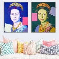 Peint à La main Reine de Angleterre Peinture Elizabeth Portrait Peinture À L'huile Mur Art pour Salon Décor Moderne Peintures Abstraites