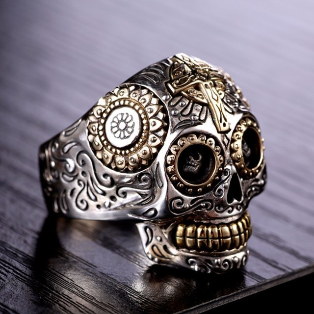 Solid 925 Sterling Silver Vintage Skull Ring 3