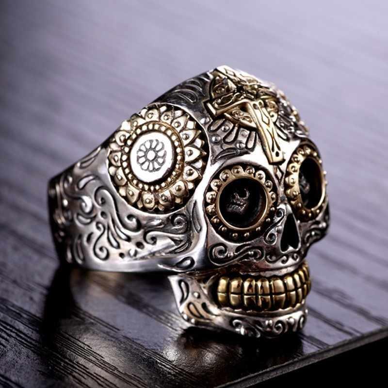 74906ab345 ... ZABRA Luxury Solid 925 Sterling Silver Skull Ring Men Vintage Punk Rock  Cross Gold Big Heavy ...