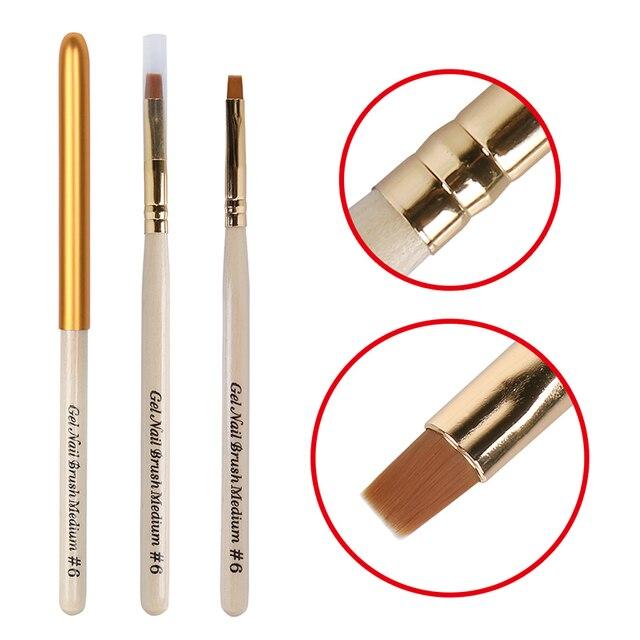 Elite99 Nagellack UV LED Tränken weg von 3D Wirkung Holz Griff Nylon Haar Pinsel Stift Gel Lack UV LED Maniküre no. 6 Werkzeug