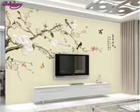 Beibehang Fashion Big Wallpaper Hand Painted Magnolia Flowers And Birds Retro Simple TV Backdrop Wall Papel
