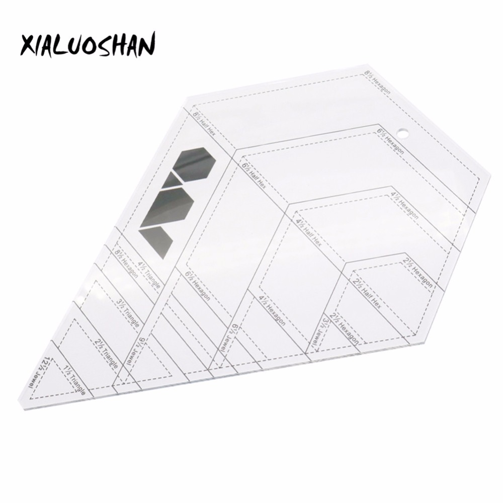 Drawing Ruler Tool Hexagon Quilting Patchwork Ruler Acrylic DIY Craft Sewing Tools Office School Line Drawing 1 pc 30 15 cm patchwork ruler quilting tools high grade acrylic material transparent ruler scale school supplie