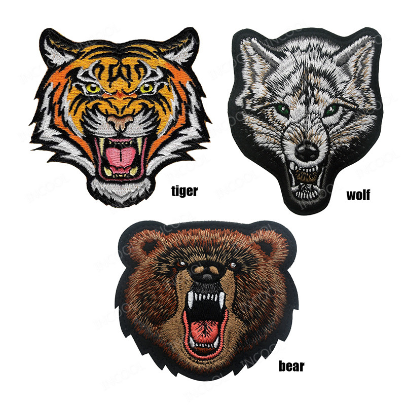 Iron on Applique//Embroidered Patch Wild Animals WHITE//ARCTIC Large Wolf