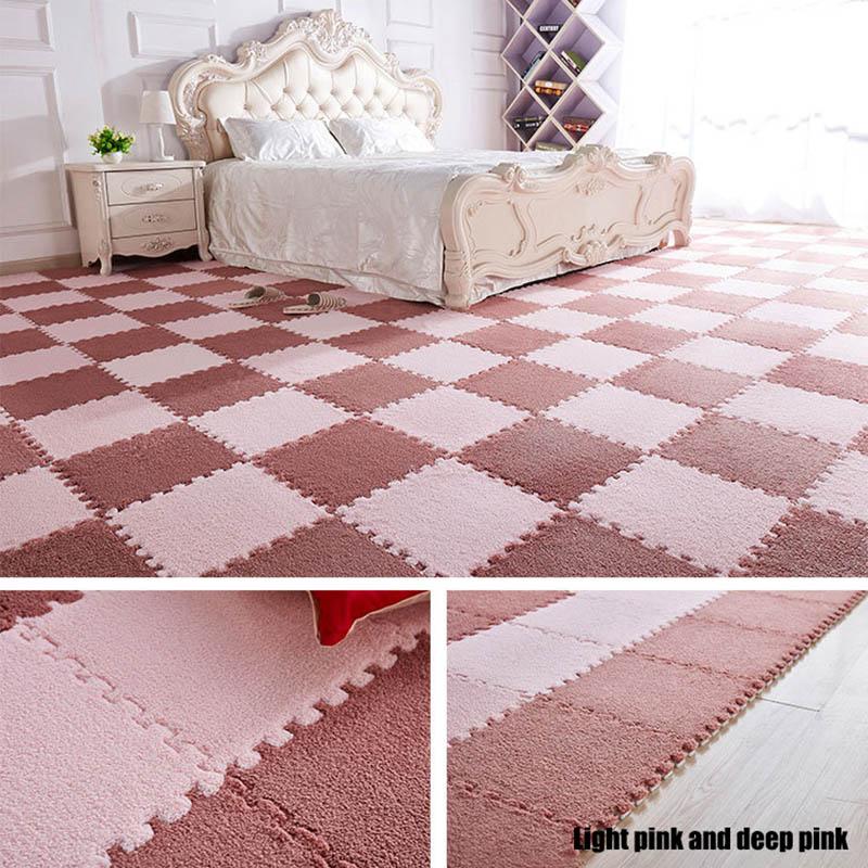 HTB1mhqwKr1YBuNjSszhq6AUsFXaX 10Pcs/1Set 30*30*1cm EVA Plush Puzzle play mats Foam Shaggy Velvet Carpet Decorative Kids Room for Crawling Play Toys 9-Colors