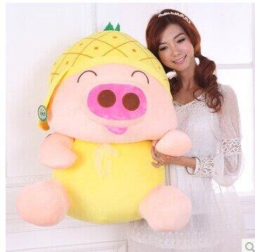 Animale di pezza 80 centimetri di maiale giocattolo della peluche McDull maiale cappello ananas cappello di disegno bambola cuscino di tiro regalo di w3553