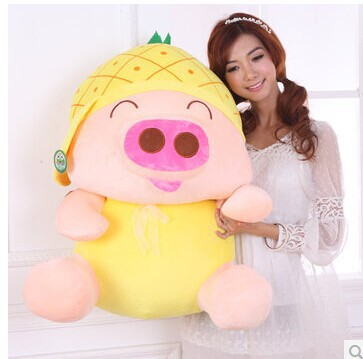 Stuffed animal 80cm pig plush toy McDull pig pineapple hat design doll throw pillow gift w3553 stuffed animal plush 80cm jungle giraffe plush toy soft doll throw pillow gift w2912