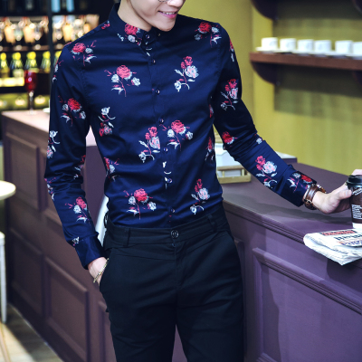 d1d8c44a70 freeshipping men shirt 2016 fall new fashion long sleeve shirt men Korean  slim fit camisa masculina floral flower printed shirts-in Casual Shirts  from ...